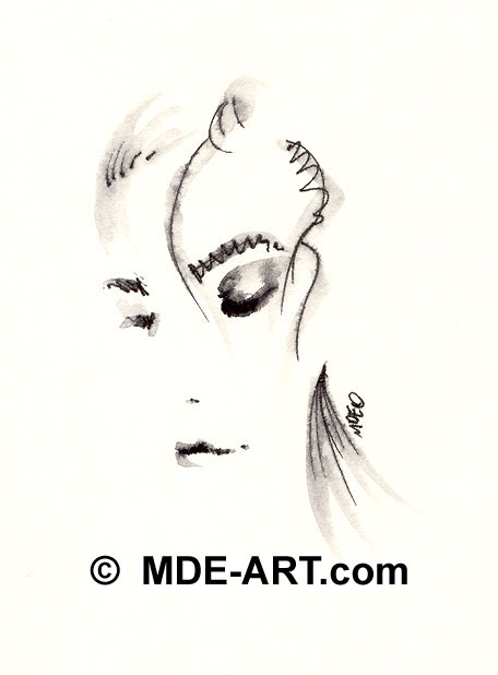 Abstract Woman Drawing Female Portrait
