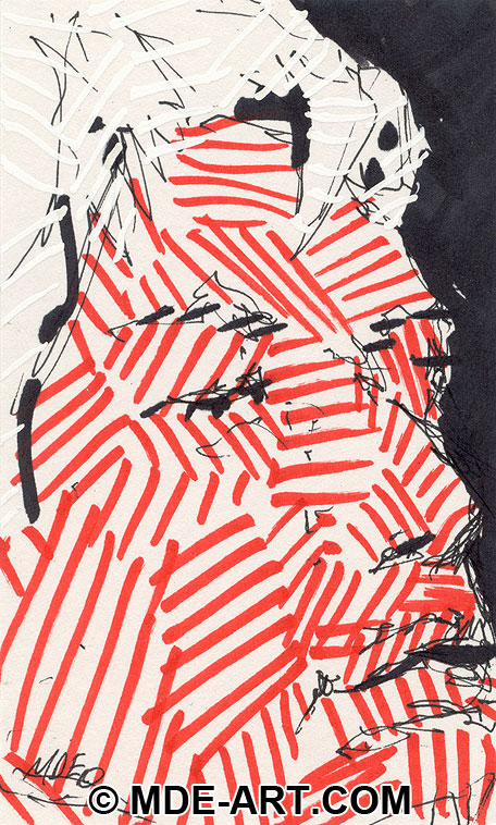 An Abstract Pen and Marker Sketch of a Man's Face