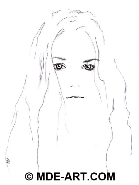 Pen & Ink Portrait Drawing of a Woman