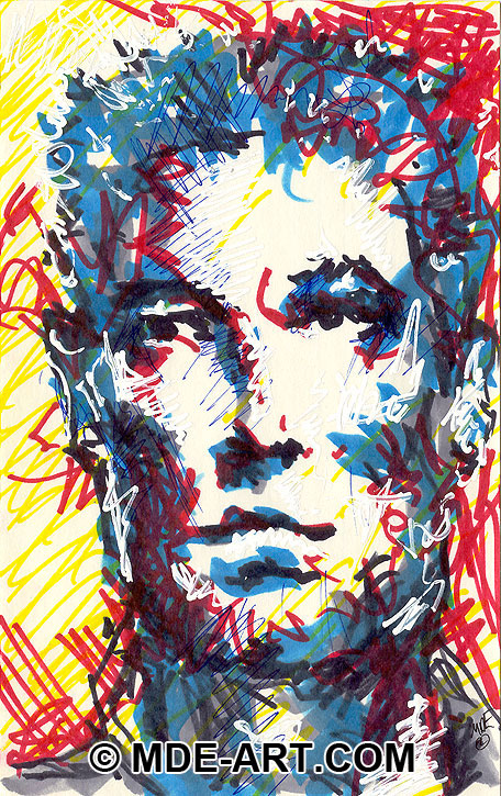 Abstract Portrait Drawing of a Male Face, drawn with Markers and Paint Pens