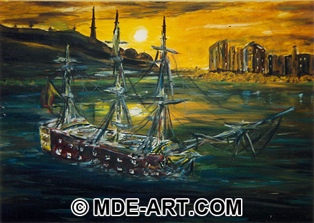 Oil Painting of an Old Sailing Ship at Sunset