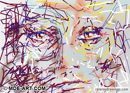 Digital Drawing of a Colorful Abstract Face