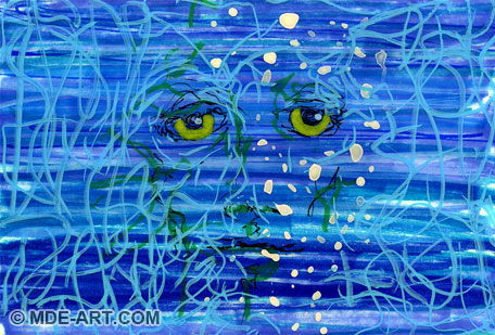 Feeling Blue   Laminated Abstract Painting and Drawing of a Sad Face with Blue and Grey Colors