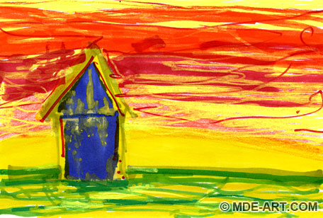 A Colorful Abstract Drawing of a Blue House and Sunset Sketched with Marker, Crayon, Paint Pen, and Colored Pencil