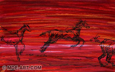 Drawing of a Horse Galloping with Other Horses