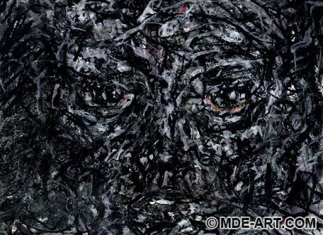 Expressive Abstract Drawing and Painting of a Black and White Face