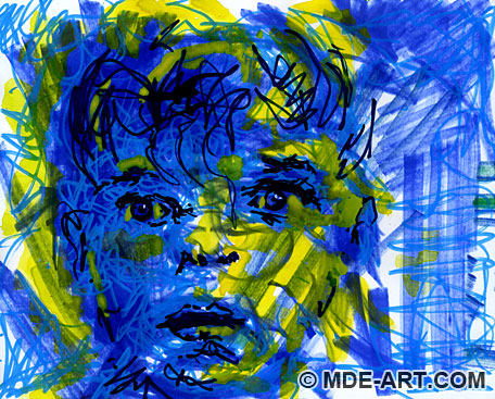 Blue Boy | Abstract Drawing of a Boy's Face