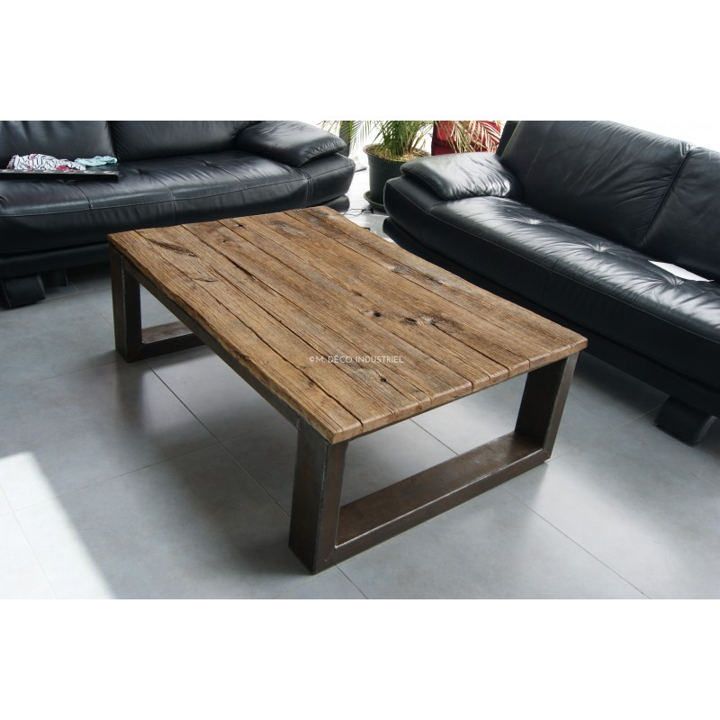 meuble industriel table basse chene massif
