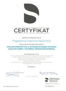 certyfikat implantoprotetyka