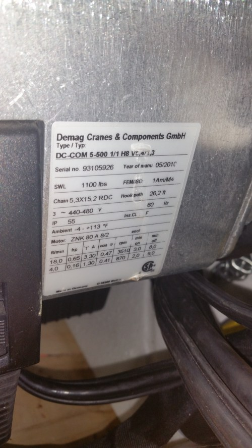 small resolution of chain hoists ir and demag ton qty 14 vancouver wa