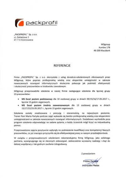 MDszkolenia.pl_Referencje_MS Excel - poziom podstawowy i średnio zaawansowany