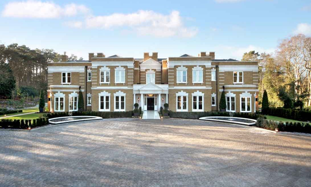 Exterior of large modern manor house in London