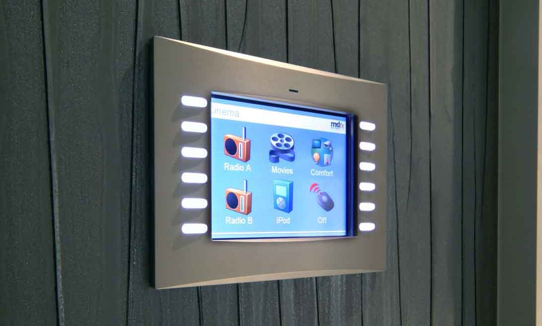 MDfx home cinema control unit attached to wall