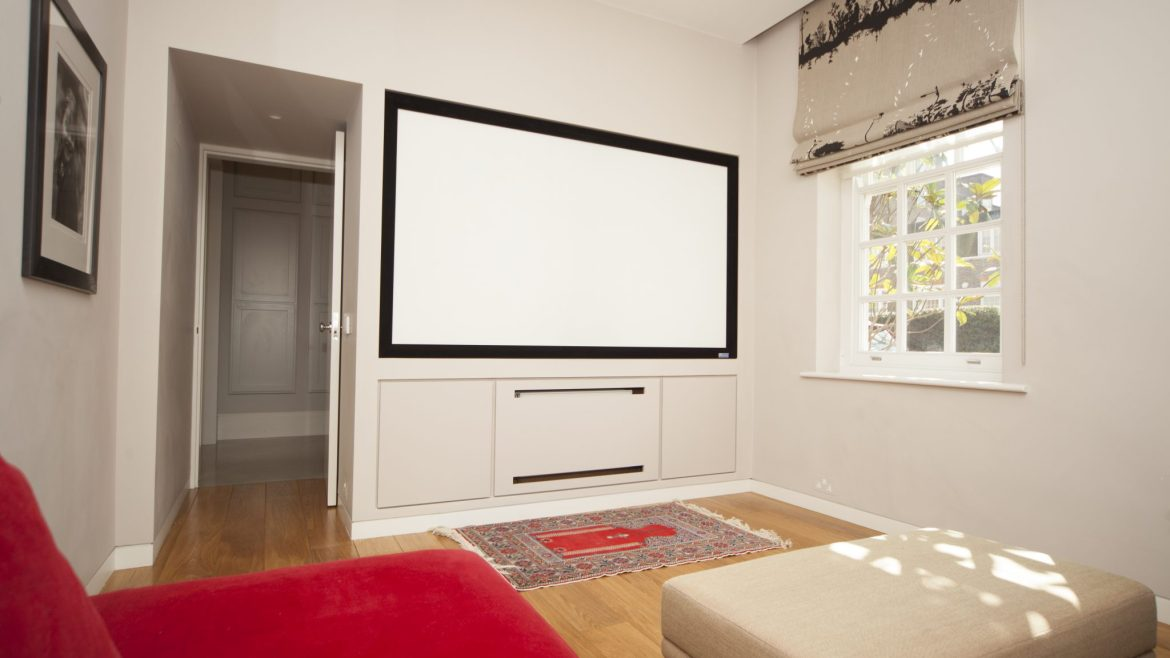 Home cinema setup in Kensington house