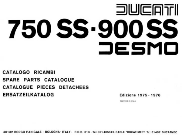 750-900ss 1975-1976 parts manual 74 pages pdf file