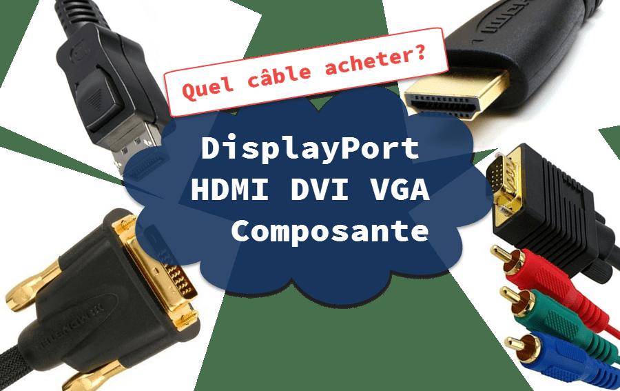 DisplayPort, HDMI, VGA, DVI et Composante