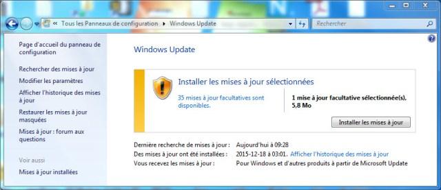 Windows Update : Installer les mises à jour