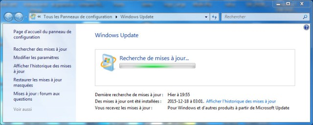 Windows Update recherche les mises à jours