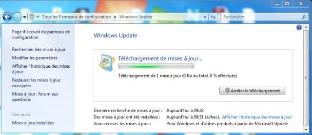 Windows Update : Téléchargement des mises à jour
