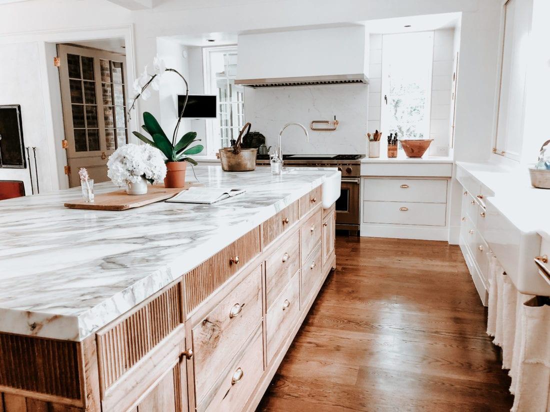 White Oak Island in White Kitchen  MDM Design Studio