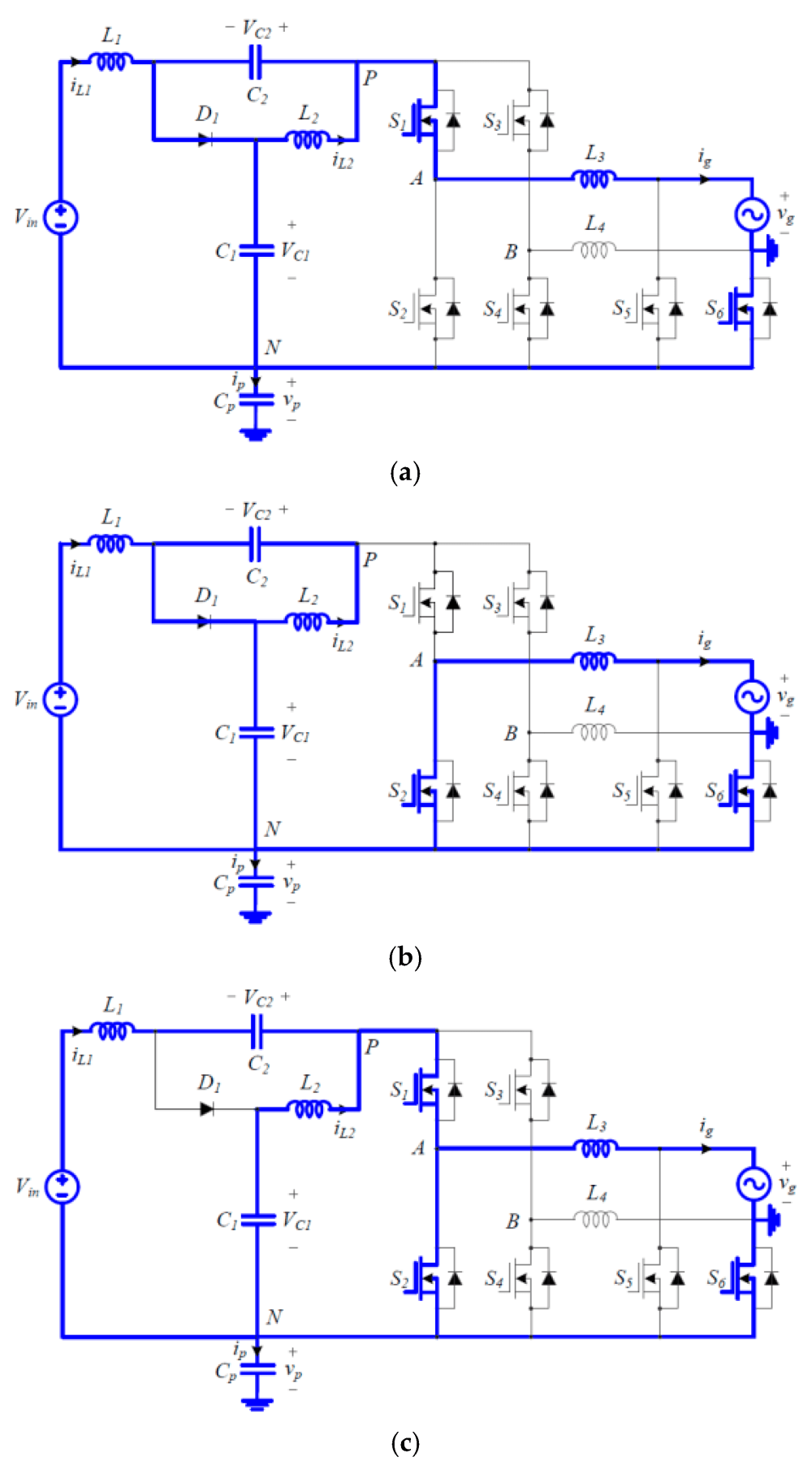 medium resolution of electronics 08 00312 g003 figure 3 switching circuit diagrams of the proposed inverter