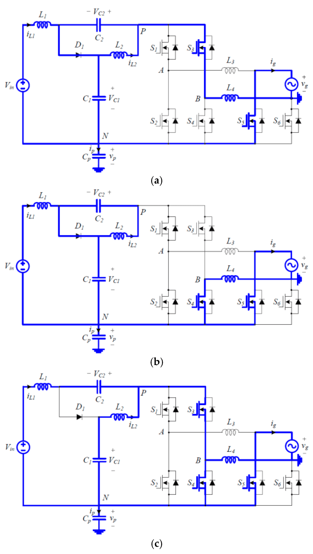 medium resolution of electronics 08 00312 g004 figure 4 switching circuit diagrams of the proposed inverter