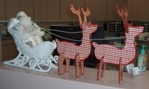 30.  White Satin Santa with Sleigh and Reindeer