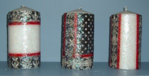 96. Three Fleur de Lis Pillar Candles