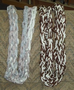101-102.  Crocheted Neck Scarf  (101--Gray Tones, 102--Brown and White)
