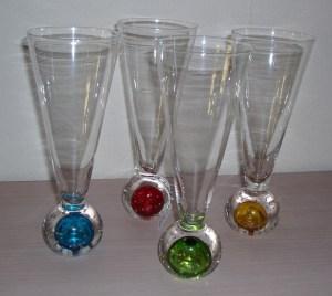 35.  Four Festive Multi-Colored Glasses