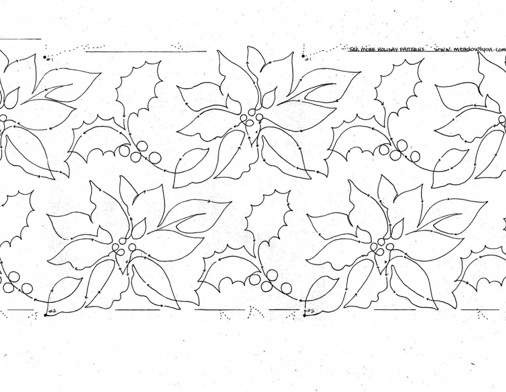 » Poinsettia Fantasia 2 rows of 6″ Interlocking Pantograph