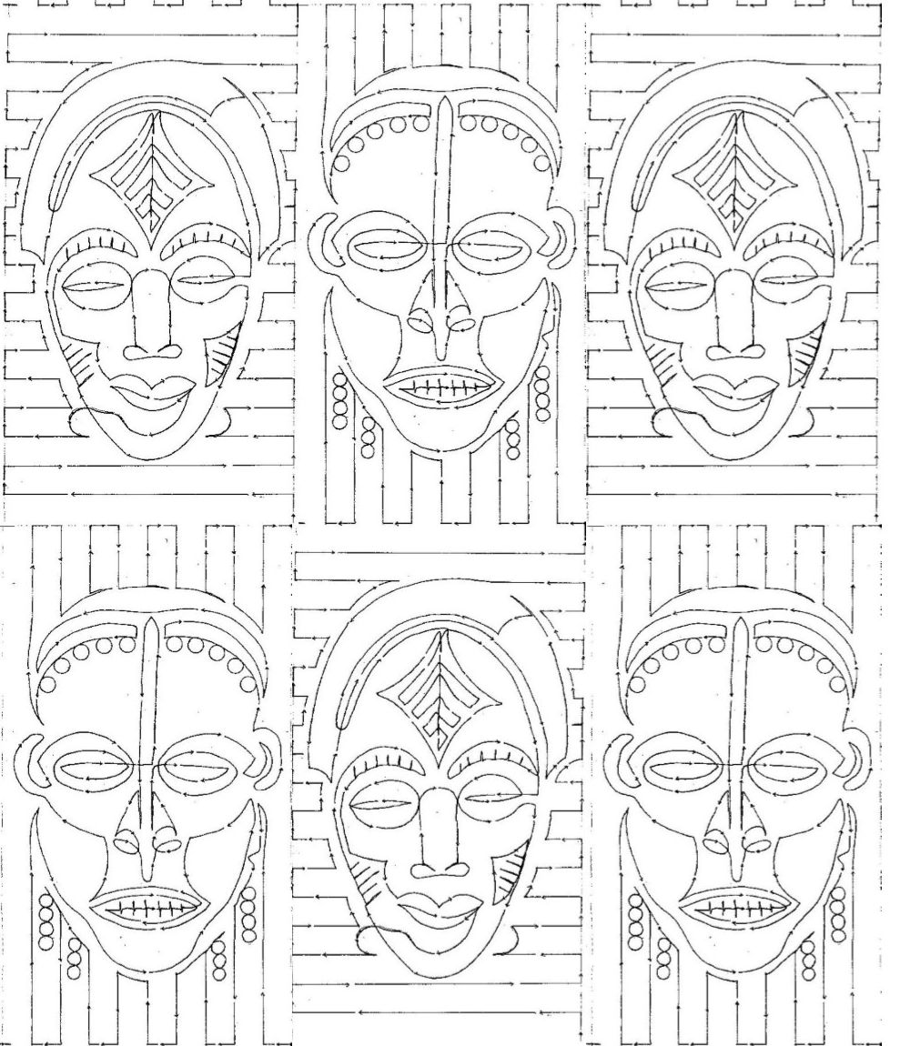 African Design Coloring Printable Borders Pages Sketch
