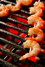 Barbeque shrimp skewers available in our bbq catering menu