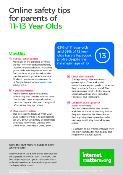 Online Safety Tips for Parents of 11-13 Year Olds