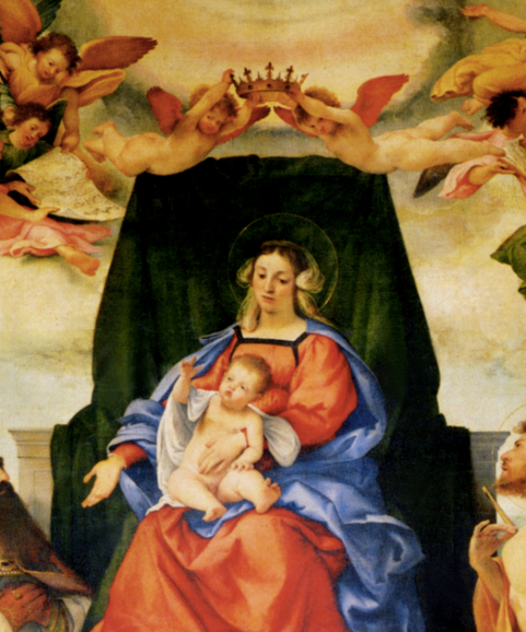 Detail from Madonna and Child with Saints, Lorenzo Lotto, 1521, from the Santo Spirito altarpiece