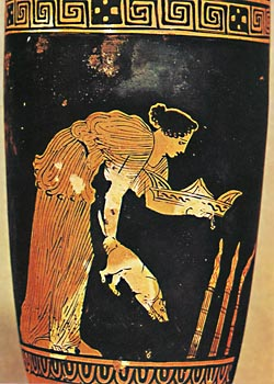 a Greek vase depicting A Priestess offering a piglet and other items to Demeter for Thesmophoria.