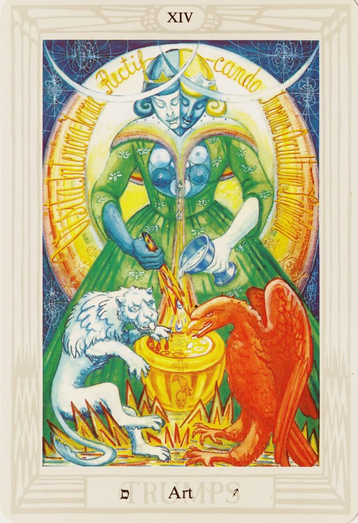 The Art, Temperance Card from the Thoth Tarot. Art by Lady Frieda Harris.
