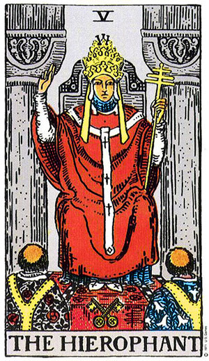 The Hierophant Tarot Card from the Pamela Colman Smith Waite Deck.