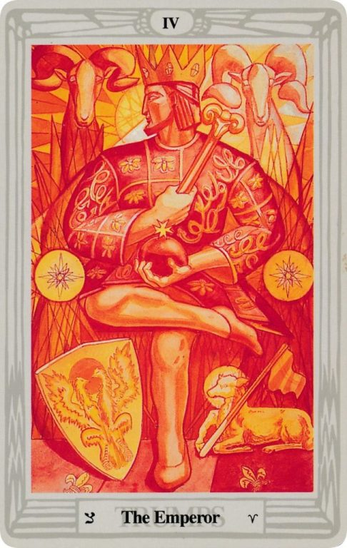 The Emperor Card, Thoth Tarot. A royal figure all in orange and red, surrounded by rams and fire. Their robe is decorated with bees and loops. Their legs are crossed at a 90º angle. They are looking to the left, away. They hold a scepter with a ram's head, and an orb. There is a shield with a double headed eagle, as well as a lamb holding a small flag, by their feet. The Sun rises behind their head.