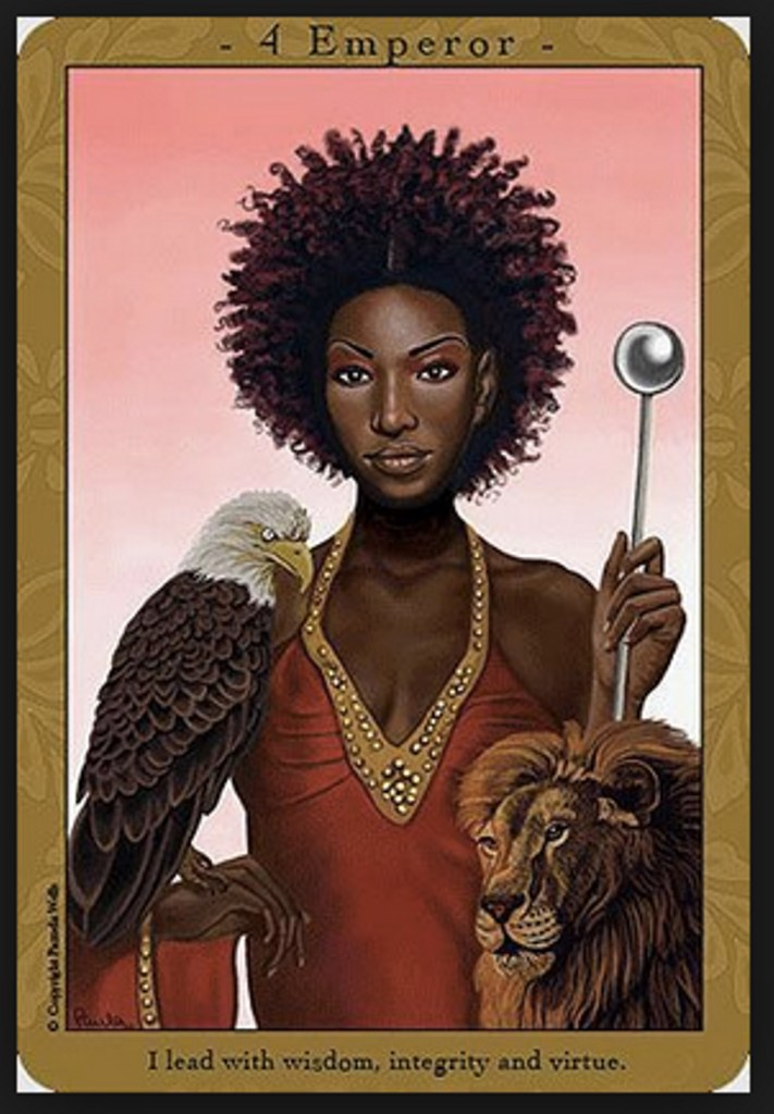 The Emperor Card, Affirmations For The Every Day Goddess Tarot. A dark skinned feminine person with a dark brown afro stars intently at you. They are wearing a red and gold blouse. They hold a silver scepter with a ball on the top. An eagle rests on their other hand. A lion is in the lower right corner.