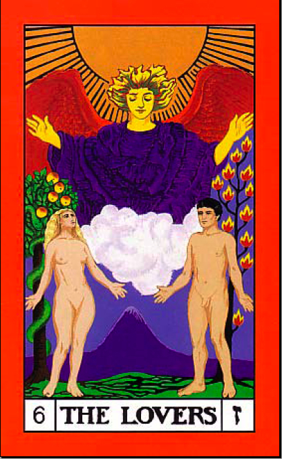 Divine Twins, the lovers card, builders of the adytum tarot