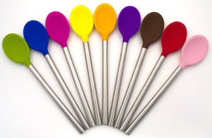 This stainless steel and silicon stirring spoon from Tovolo is our recommended stirring spoon.