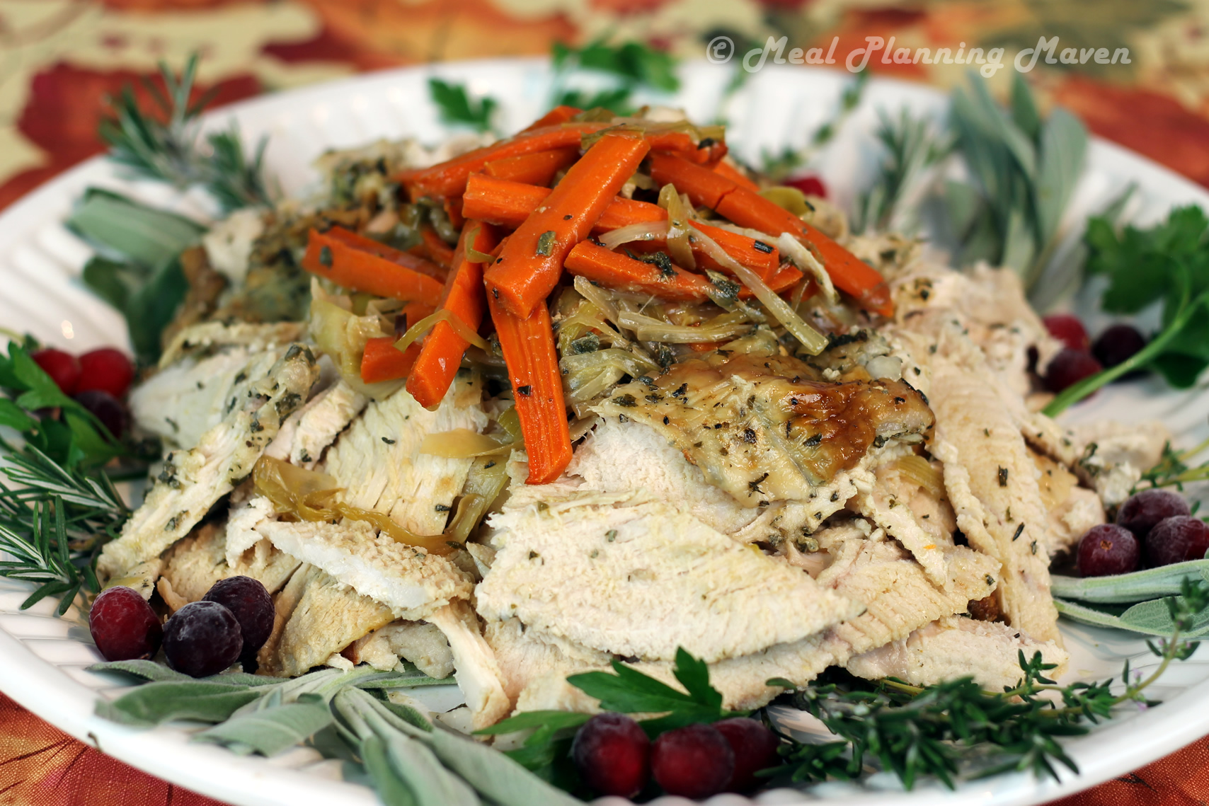 Herb-Crusted Turkey Breast with Leeks 'n Carrots