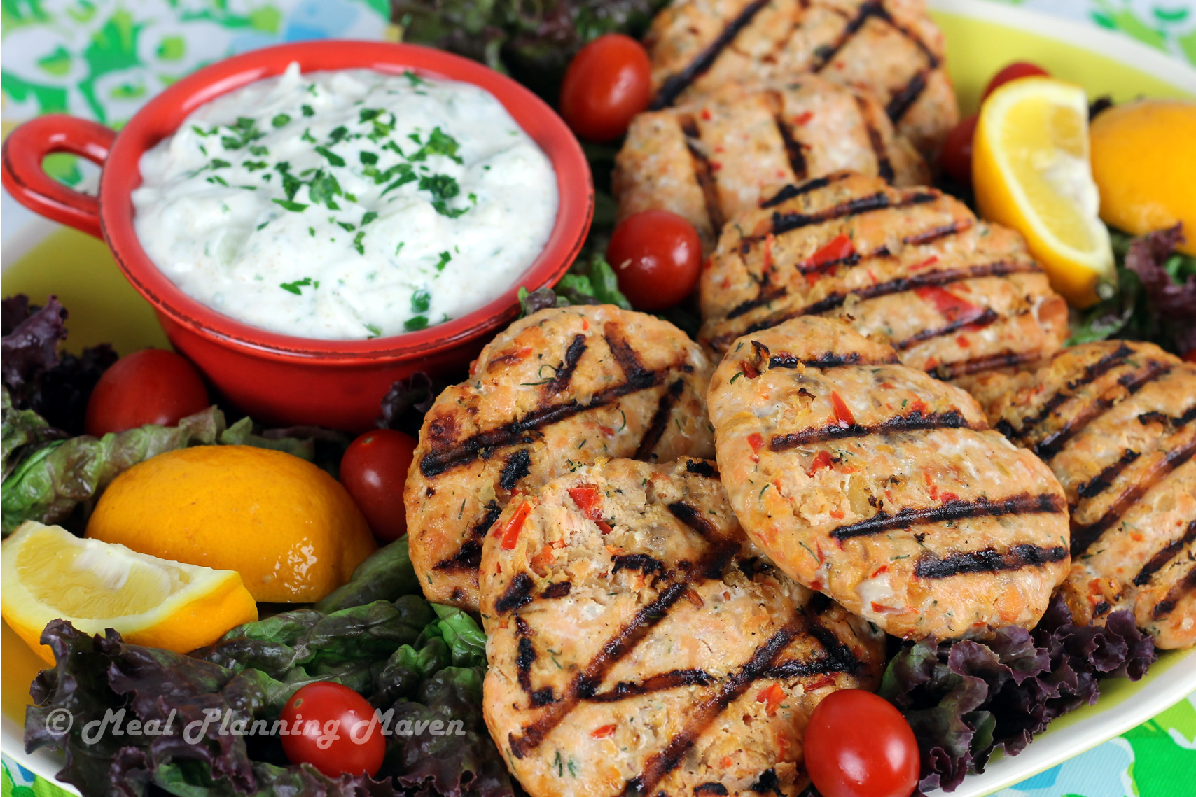 Grilled Salmon Burgers with Raita
