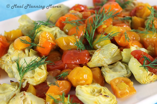 Roasted Cherry Tomatoes 'n Artichokes