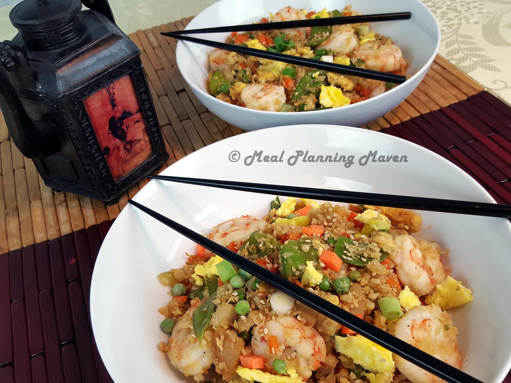 """Shrimp-Cauliflower Fried """"Rice"""" Bowls"""