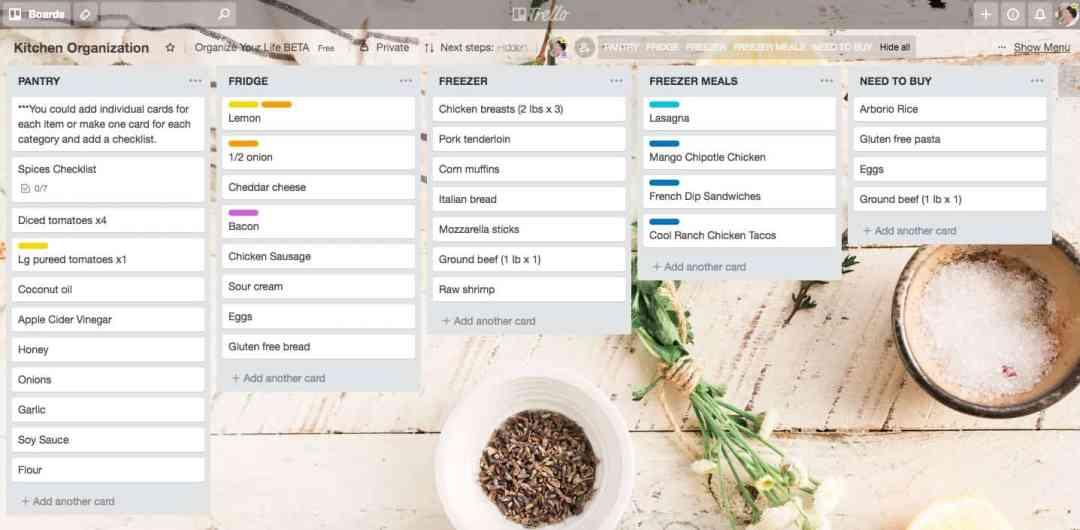 screenshot of Trello kitchen inventory board example