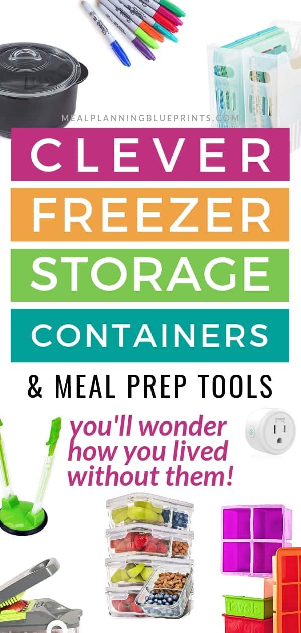 Clever freezer storage containers and meal prep tools pictured