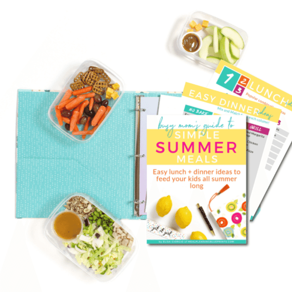 Simple Summer Meals guide on table with meal prep containers and binder