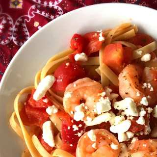 Shrimp, Tomatoes & Goat Cheese over Pasta